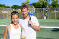 Tennis Players Portrait On Tennis Court Outside Royalty Free Stock Photography - 51518117