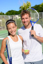 Tennis Sport - Mixed Doubles Couple Players Royalty Free Stock Photo - 51518125