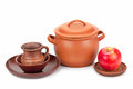 Earthen Pot, Jug, Plate And Ripe Apple Royalty Free Stock Photo - 51523015