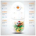 Vitamin And Nutrition Food With Pill Capsule Chart Diagram Infog Royalty Free Stock Photo - 51523905