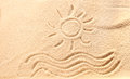 Drawing Of Waves And Sun On Beach Sand Royalty Free Stock Photography - 51524497