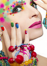 Colorful Makeup And Manicure. Royalty Free Stock Image - 51529376