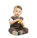 Baby Boy With Flower, Well Dressed Kid In Suit. Children Retro Style, One Year Old Child Stock Photography - 51529482