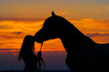 Girl And Horse Stock Images - 51538814