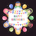Modern Cute And Funny Cartoon Russian Dolls Birthday Greeting Card. Stock Photo - 51543220