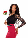 Black Woman With Rose. Stock Photography - 51544832