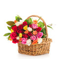 Colorful Bouquet Mixed Roses In Wicker Basket Stock Photography - 51551492
