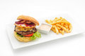 Hamburger With French Fries Stock Image - 51558541
