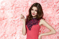 Beautiful Sexy Woman In Dress Many Flowers Makeup Summer Spring Royalty Free Stock Photo - 51594095