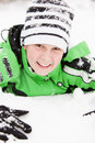 Friendly Young Boy Playing In Winter Snow Royalty Free Stock Photography - 51594447