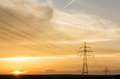 Transmission Line And Poles At Sunset Stock Images - 51597014