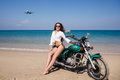 Young, Sexual, The Girl On The Motorcycle, The Flying Plane, On Royalty Free Stock Photo - 51626725