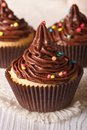 Cupcakes With Chocolate Cream Close-up On The Table. Vertical Royalty Free Stock Photography - 51627337