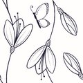 Abstract Seamless Pattern With Flowers And Butterfly In Sketch Style Stock Photo - 51642410