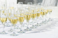 Row Of Champagne Glasses Royalty Free Stock Photos - 51643768