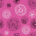 Pattern Of Black And Bright Flowers On A Pink Background Royalty Free Stock Image - 51653956