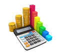 Calculator With Bar Graph And Coins Stock Photography - 51658342