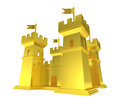 Golden Fortress Isolated Gold Castle Stock Images - 51667944