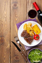 Steak With Grilled Potato, Corn, Salad And Red Wine Royalty Free Stock Photo - 51671685
