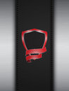 Red Shield On Leather And Metal Portrait Panel Stock Photo - 51680890