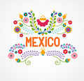 Mexico Flowers, Pattern And Elements Royalty Free Stock Photo - 51681505