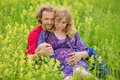 Happy Pregnant Couple Hugging In Nature Royalty Free Stock Photo - 51698145