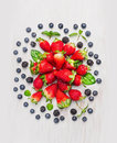 Summer Berries:  Blackberries, Blueberries, Strawberries , Composing On White Wooden Background, Top View Stock Images - 51704414
