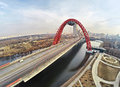 Aerial View On Red Suspension Bridge, Moscow Stock Photos - 51705583