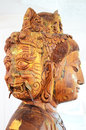 Carving Wooden Bodhisattva Goddess Statue Or Guan Yin Three Face Stock Image - 51709241