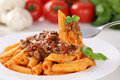 Eating Pasta Bolognese Or Bolognaise Sauce Noodles Meal Royalty Free Stock Photos - 51713448
