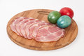 Slices Of Smoked Ham With Easter Egg Royalty Free Stock Image - 51721736