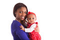 Young African American Mother Holding With Her Baby Girl Isolate Royalty Free Stock Images - 51728049