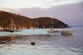 Sunrise And Boats In The Harbour Of Mangonui, New Zealand Stock Photos - 51728783