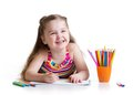 Happy Little Girl Drawing With Felt-tip Pen In Royalty Free Stock Photography - 51731047