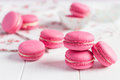 Pink Raspberry Macaroons On White Wooden Background Royalty Free Stock Image - 51741566