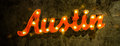 Austin Metal Sign Red Light Up Wall Hanging Stock Photography - 51763452