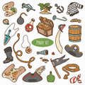 Vector Set Of Pirate Items, Colorful Cartoon Collection Stock Photography - 51776732