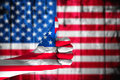 Hand Covered In Flag Of USA. Royalty Free Stock Photos - 51785738