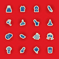 Birthday Icon Set Isolated On Red Royalty Free Stock Images - 51830089