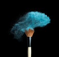 Isolated Blue Make-up Powder With Brush On Black Stock Image - 51831791