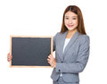 Asian Business Girl Holding Blank Blackboard Royalty Free Stock Image - 51840706