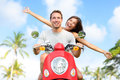 Happy Free Freedom Couple Driving Scooter Stock Image - 51845401