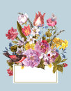 Spring Floral Retro Card In Vintage Style Stock Image - 51845711