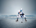Face-off Ice Hockey Moment On The Frozen Lake Royalty Free Stock Photo - 51857755