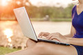Closeup Women Use Laptop Computer Outdoor Stock Photos - 51861873
