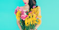 Spring Fashion Lady With Bouquet Of Beautiful Flowers Royalty Free Stock Image - 51862936