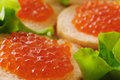Sandwiches With Red Caviar. Royalty Free Stock Photos - 51896098