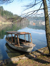 Old Wooden Boat By Lake Stock Image - 5195201