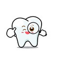 Happy  Dental Smile Tooth Mascot Cartoon Character Isolated On W Royalty Free Stock Photo - 51903665