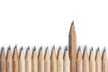 One Wood Pencil Standing Out From The Row Royalty Free Stock Image - 51903826